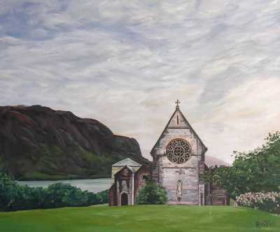 """SAINT-MARRY'S CHURCH IN GLENFINNAN"", Rudy Vandecappelle, RmV Portraits Art, portraits, oil painting, commission, gift, birthday, Christmas, New Year, parents, children, grand parents, dry brudh, people, animal, pet, dog, cat, hrse, donkey, mule"