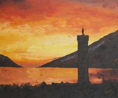 """JACOBITE MONUMENT IN GLENFINNAN"", Rudy Vandecappelle, RmV Portraits Art, portraits, oil painting, commission, gift, birthday, Christmas, New Year, parents, children, grand parents, dry brudh, people, animal, pet, dog, cat, hrse, donkey, mule"
