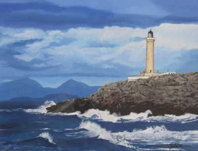 """ARDNAMURCHAN LIGHTHOUSE"", Rudy Vandecappelle, RmV Portraits Art, portraits, oil painting, commission, gift, birthday, Christmas, New Year, parents, children, grand parents, dry brudh, people, animal, pet, dog, cat, hrse, donkey, mule"