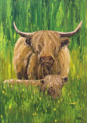 Highland cow and calf Rudy Vandecappelle rmvportraitsart oil painting for sale